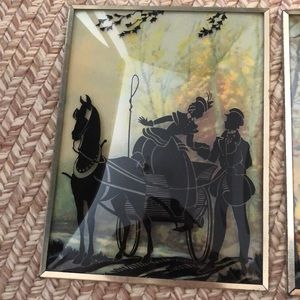 Vintage Wall Art - Vintage silhouette wall hangings convex glass